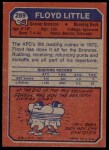 1973 Topps #289  Floyd Little  Back Thumbnail