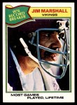 1977 Topps #452   -  Jim Marshall Record Breaker Front Thumbnail