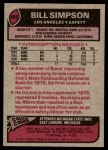 1977 Topps #406  Bill Simpson  Back Thumbnail