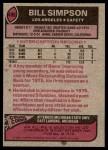 1977 Topps #406  Bill Simpson  Back Thumbnail