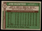 1976 Topps #100  Catfish Hunter  Back Thumbnail