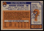 1976 Topps #288  Howard Stevens  Back Thumbnail