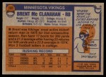 1976 Topps #191  Brent McClanahan   Back Thumbnail