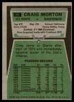 1975 Topps #55  Craig Morton  Back Thumbnail