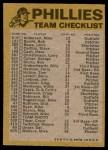 1974 Topps Red Team Checklist   Phillies Team Checklist Back Thumbnail