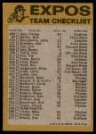 1974 Topps Red Team Checklist   Expos Team Checklist Back Thumbnail