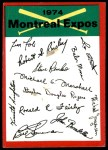 1974 Topps Red Team Checklist   Expos Team Checklist Front Thumbnail
