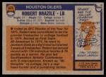 1976 Topps #424  Robert Brazile   Back Thumbnail