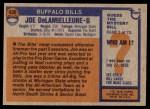 1976 Topps #430  Joe DeLamielleure  Back Thumbnail