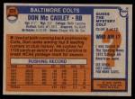 1976 Topps #328  Don McCauley  Back Thumbnail