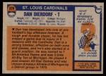 1976 Topps #326  Dan Dierdorf  Back Thumbnail