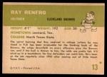 1961 Fleer #13  Ray Renfro  Back Thumbnail