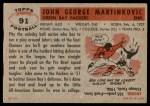 1956 Topps #91  John Martinkovic  Back Thumbnail