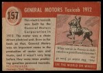 1954 Topps World on Wheels #157   General Motors Taxicab Back Thumbnail