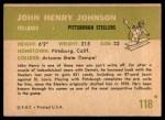 1961 Fleer #118  John Henry Johnson  Back Thumbnail