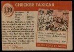 1954 Topps World on Wheels #139   Checker Taxicab Back Thumbnail