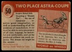 1954 Topps World on Wheels #50   Two Place Astra-Coupe Back Thumbnail
