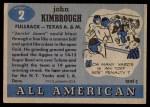 1955 Topps #2  John Kimbrough  Back Thumbnail