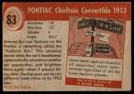 1954 Topps World on Wheels #83   Pontiac Chieftain Convertible 1953 Back Thumbnail