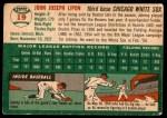 1954 Topps #19 WHT John Lipon  Back Thumbnail