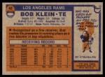 1976 Topps #42  Bob Klein  Back Thumbnail