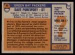 1976 Topps #99  Dave Pureifory   Back Thumbnail