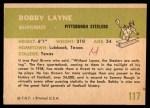 1961 Fleer #117  Bobby Layne  Back Thumbnail