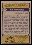 1979 Topps #274  Jim Marshall  Back Thumbnail