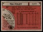 1980 Topps #221  Tim Foley  Back Thumbnail