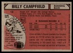 1980 Topps #13  Billy Campfield  Back Thumbnail