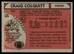 1980 Topps #416  Craig Colquitt  Back Thumbnail