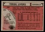 1980 Topps #402  Virgil Livers  Back Thumbnail