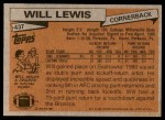 1981 Topps #437  Will Lewis  Back Thumbnail