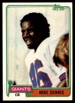 1981 Topps #156  Mike Dennis  Front Thumbnail