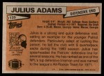 1981 Topps #139  Julius Adams  Back Thumbnail