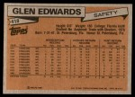 1981 Topps #418  Glen Edwards  Back Thumbnail