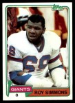 1981 Topps #454  Roy Simmons  Front Thumbnail