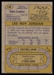 1974 Topps #138   -  Lee Roy Jordan All-Pro Back Thumbnail