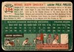 1954 Topps #104  Mike Sandlock  Back Thumbnail