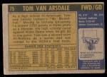 1971 Topps #75  Tom Van Arsdale  Back Thumbnail