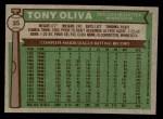 1976 Topps #35  Tony Oliva  Back Thumbnail