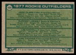 1977 Topps #488   -  Jack Clark / Ruppert Jones / Lee Mazzilli / Dan Thomas Rookie Outfielders Back Thumbnail