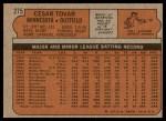 1972 Topps #275  Cesar Tovar  Back Thumbnail