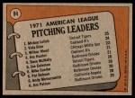 1972 Topps #94   -  Vida Blue / Mickey Lolich / Wilbur Wood AL Pitching Leaders   Back Thumbnail