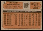 1972 Topps #220  Jim Perry  Back Thumbnail