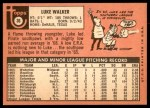 1969 Topps #36  Luke Walker  Back Thumbnail