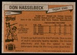 1981 Topps #159  Don Hasselbeck  Back Thumbnail