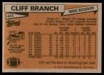 1981 Topps #403  Cliff Branch  Back Thumbnail