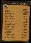1973 Topps #474   -  Babe Ruth All-Time RBI Leader Back Thumbnail