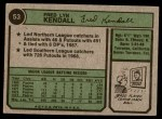 1974 Topps #53 WAS Fred Kendall  Back Thumbnail